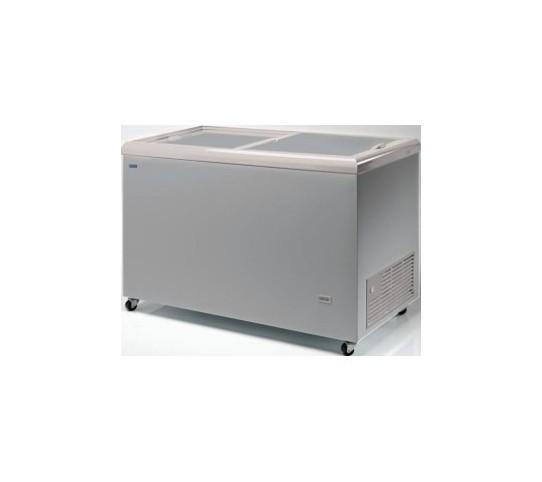 Congélateur 387 litres couvercle coulissant «opaque» aspect inox