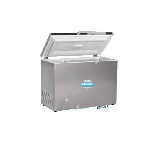 Congélateur 300 litres couvercle porte pleine aspect inox