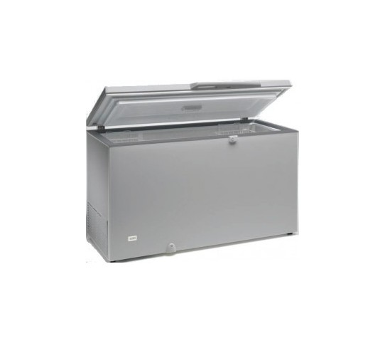 Congélateur 400 litres couvercle dessus inox porte pleine aspect inox