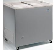 Congélateur 304 litres couvercle coulissant «vitrée» aspect inox