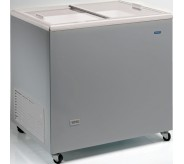 Congélateur 222 litres couvercle coulissant «vitrée» aspect inox