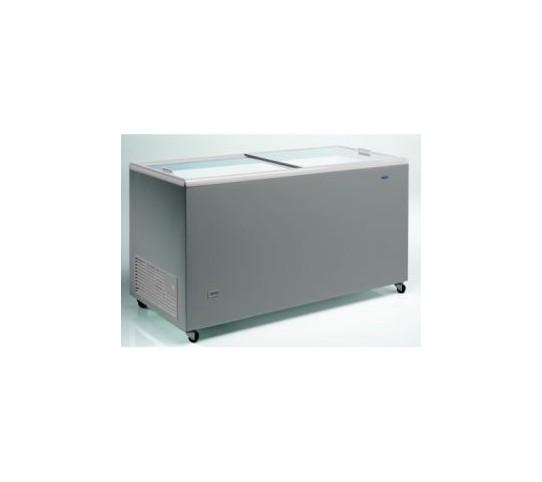 Congélateur 387 litres couvercle coulissant «vitrée» aspect inox